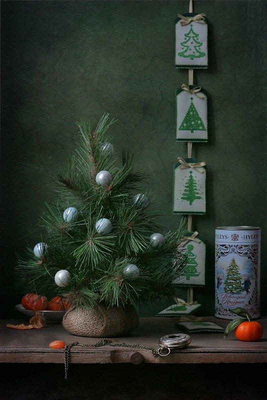 натюрморт, новый год, ёлка, мандарины, праздник, Курочкина Диана