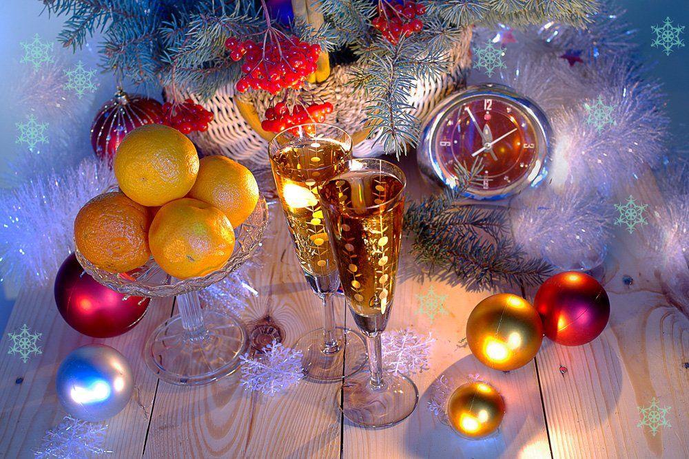 новый год , ветки сосны,шампанское,часы, зима, вера павлухина ,, Вера Павлухина