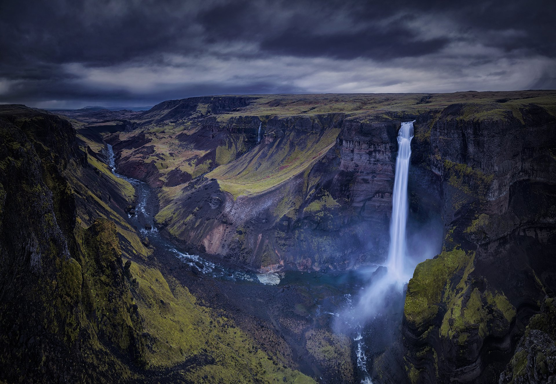 waterfall, landscape, nature, iceland, travel, dark, пейзаж, iceland, Genadi Dochev