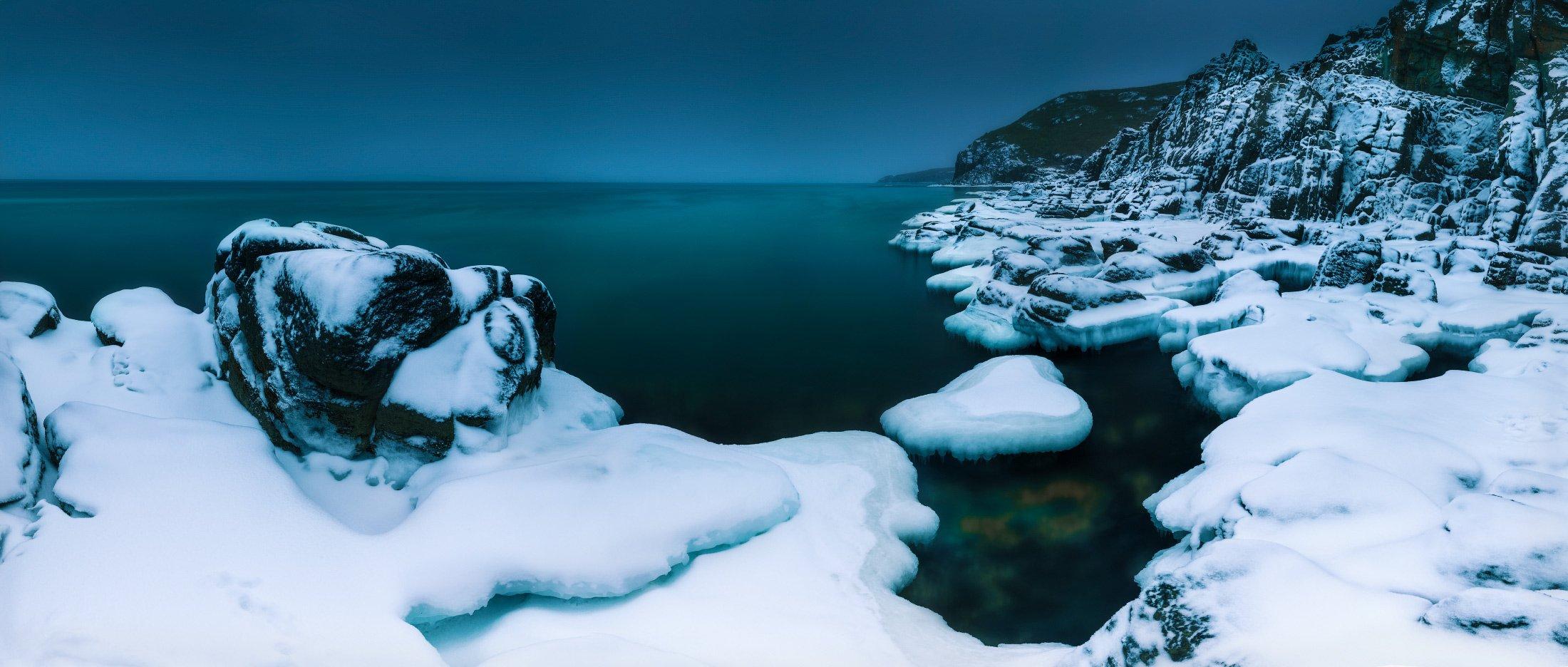 панорама, зима, море, лёд, снег, Андрей Кровлин