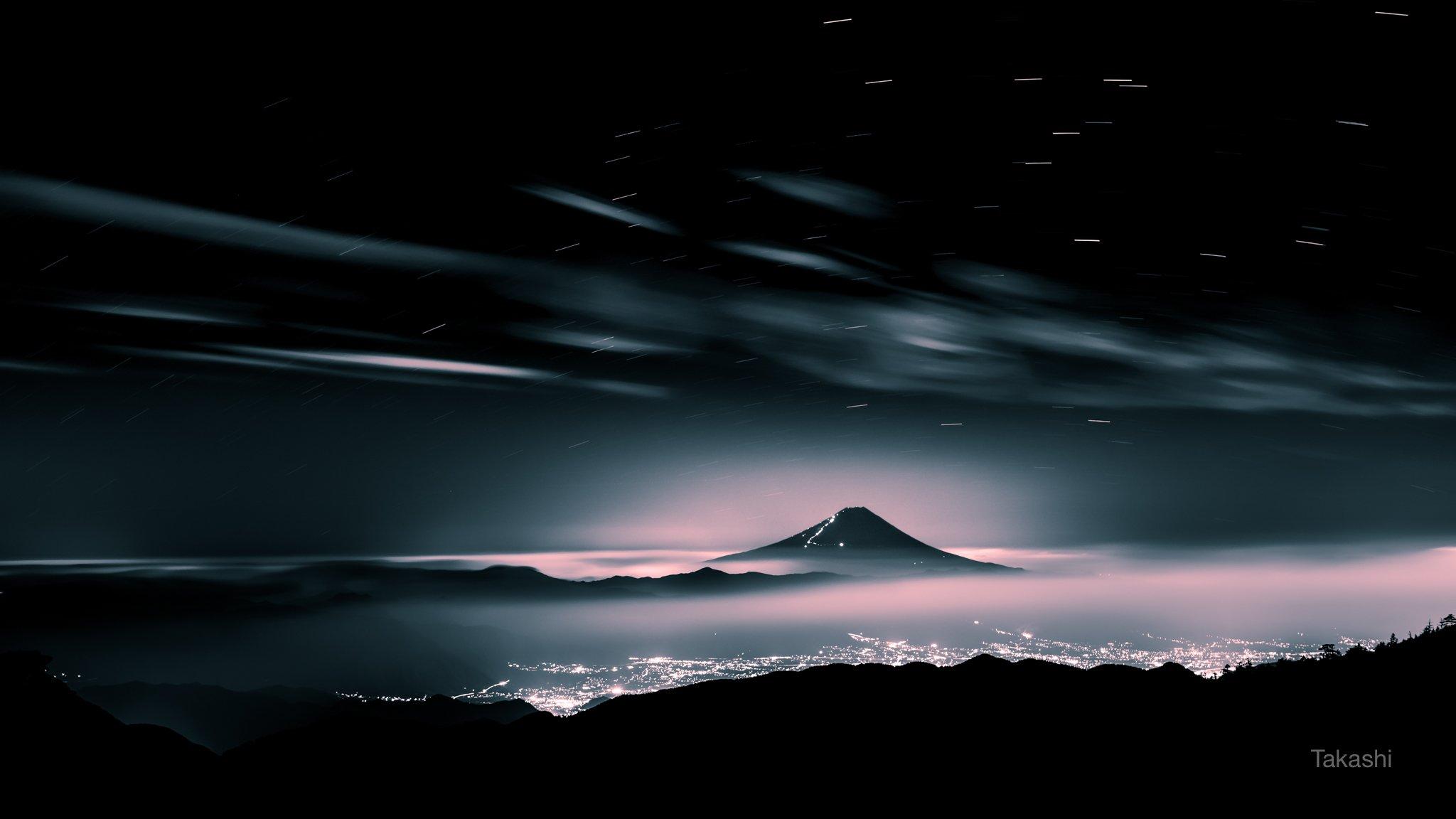 Fuji,Japan,mountain,summer,cloud,night,beautiful,star,light,pink, Takashi