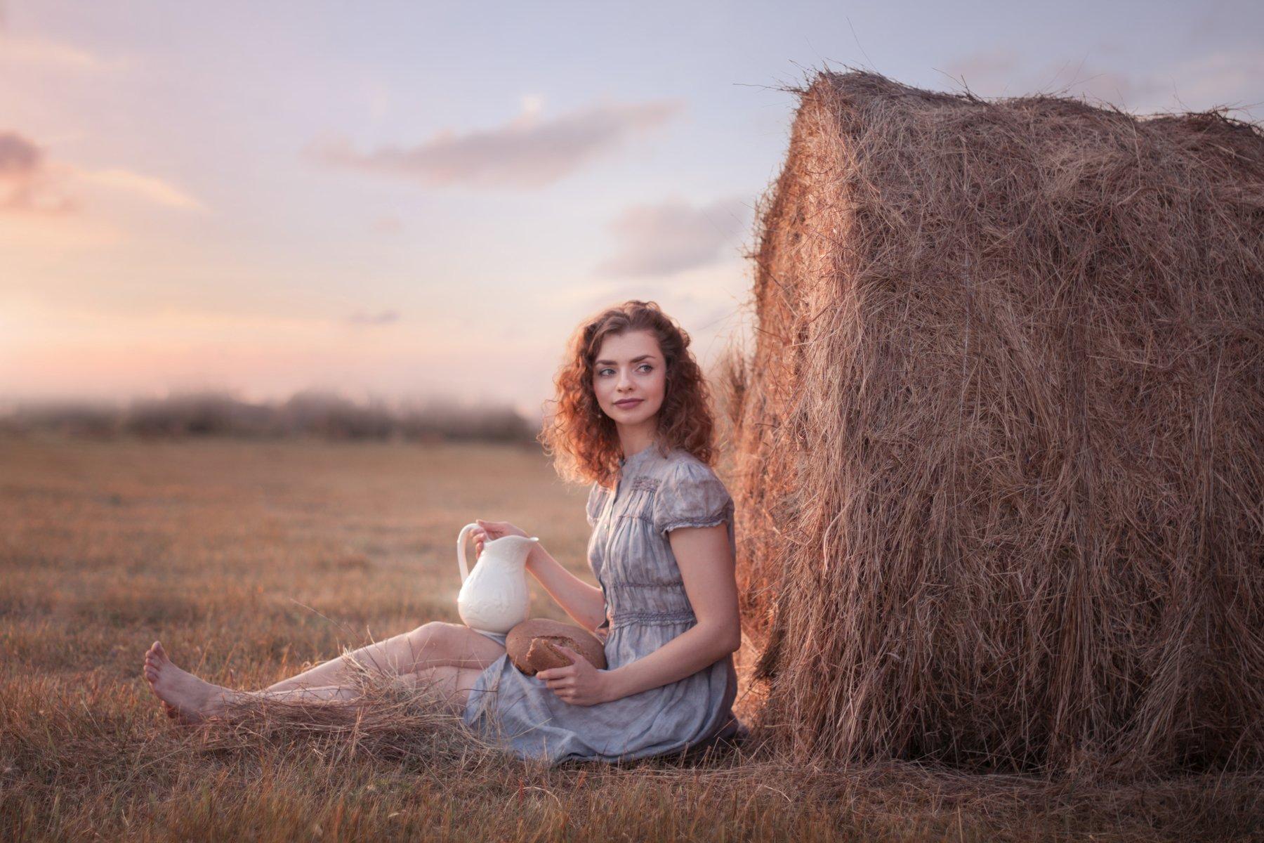 девушка, поле, лето, закат, тепло, красавица, summer, field, warm, sunset, girl, beautiful, Лобанова Екатерина