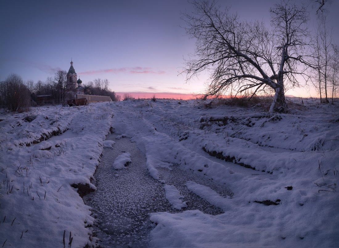 зима, мороз, иней, утро, рассвет, пейзаж, капустино, Жмак Евгений