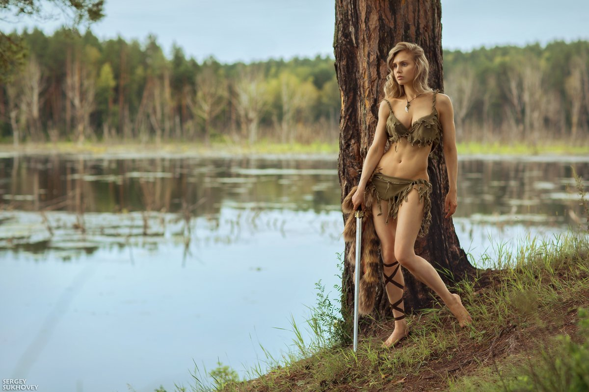 амазонка, амазонки, воительница, воин, копье, девушка воин, amazons, amazon, лук, стрелы, горы, озеро, меч, фитнес бикини, девушка с мечом, Сергей Суховей