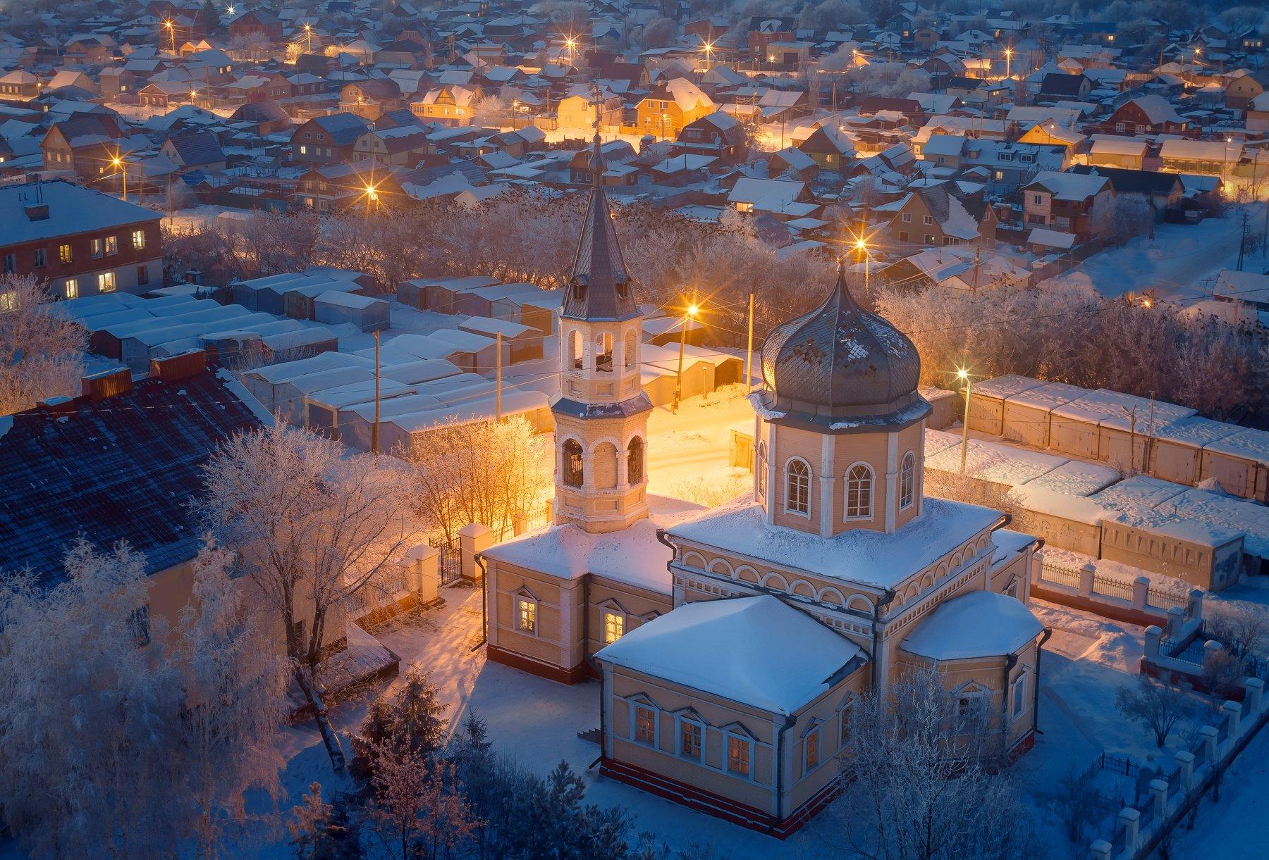 омск, город, церковь, крыша, ночь, мороз, иней, россия, пейзаж, Голубев Алексей