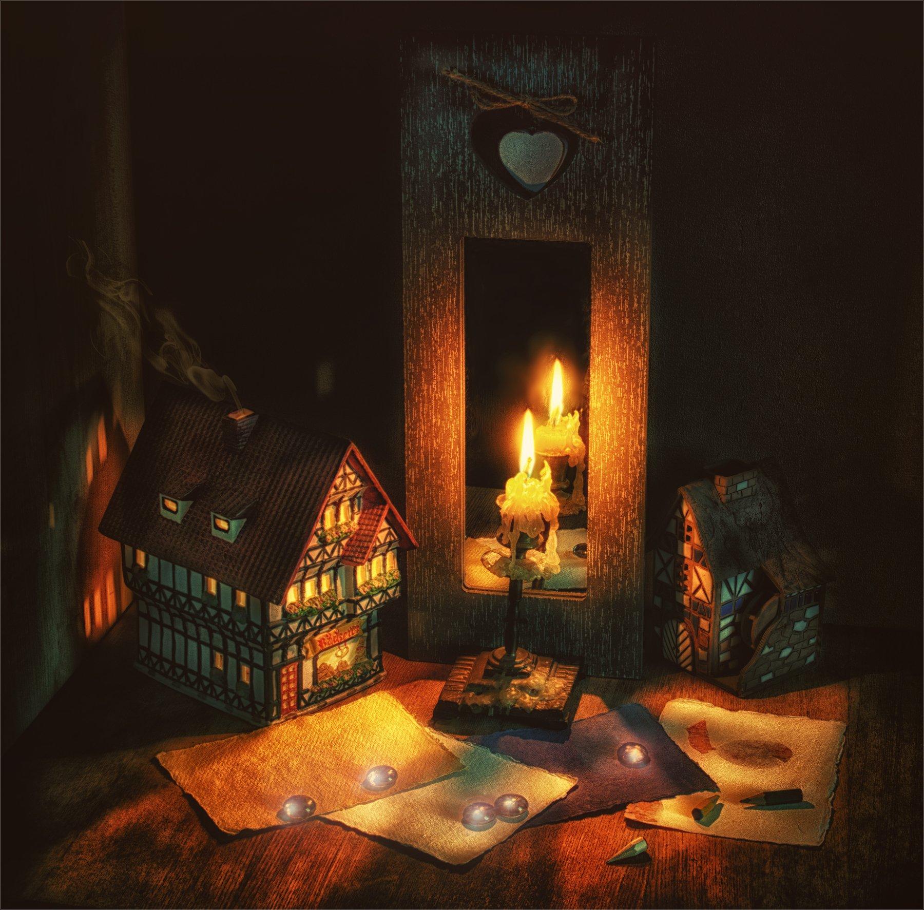 still life, натюрморт,   винтаж, ретро, свеча, огонь, отражение, зеркало, домик, дым, карандаши, Михаил MSH