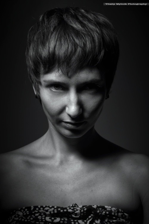 девушка, портрет, лицо, низкий ключ, студия,, Виталий Мытник