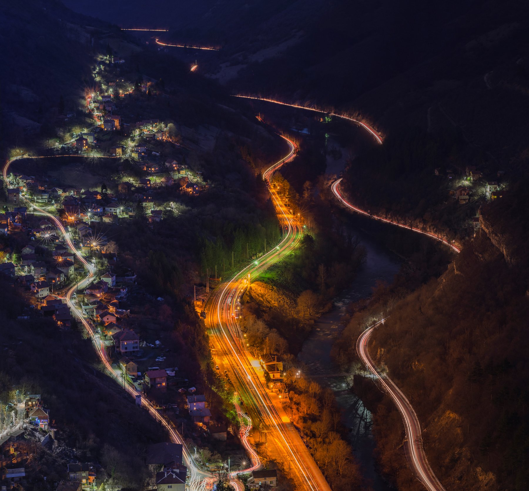 night, trails, cars, train, landscape, mountain, river, water, city, Иван Димитров