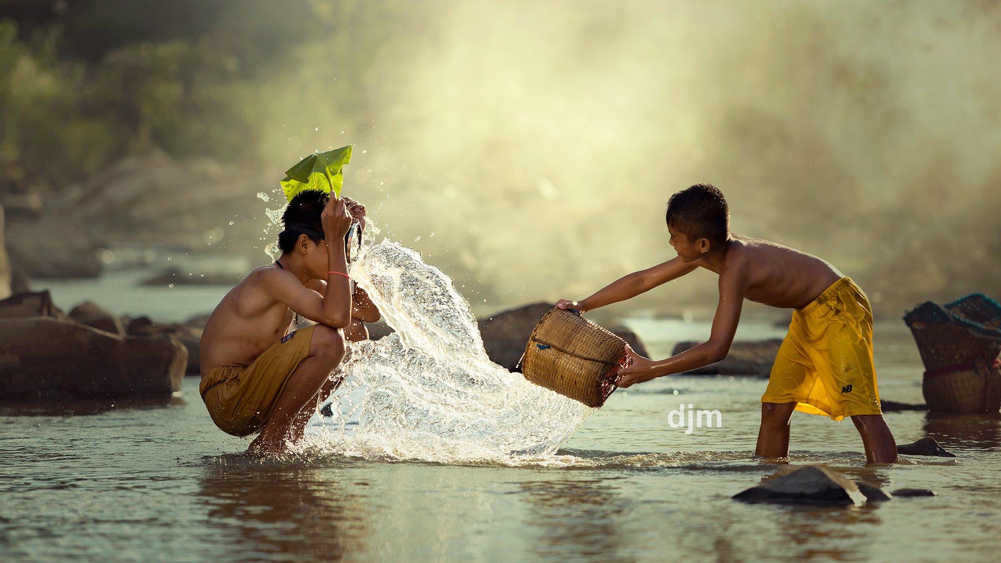 Thai,Thailand,Children,creek,nature,portrait,friends,water,life,lifestyle,, SUTIPORN SOMNAM