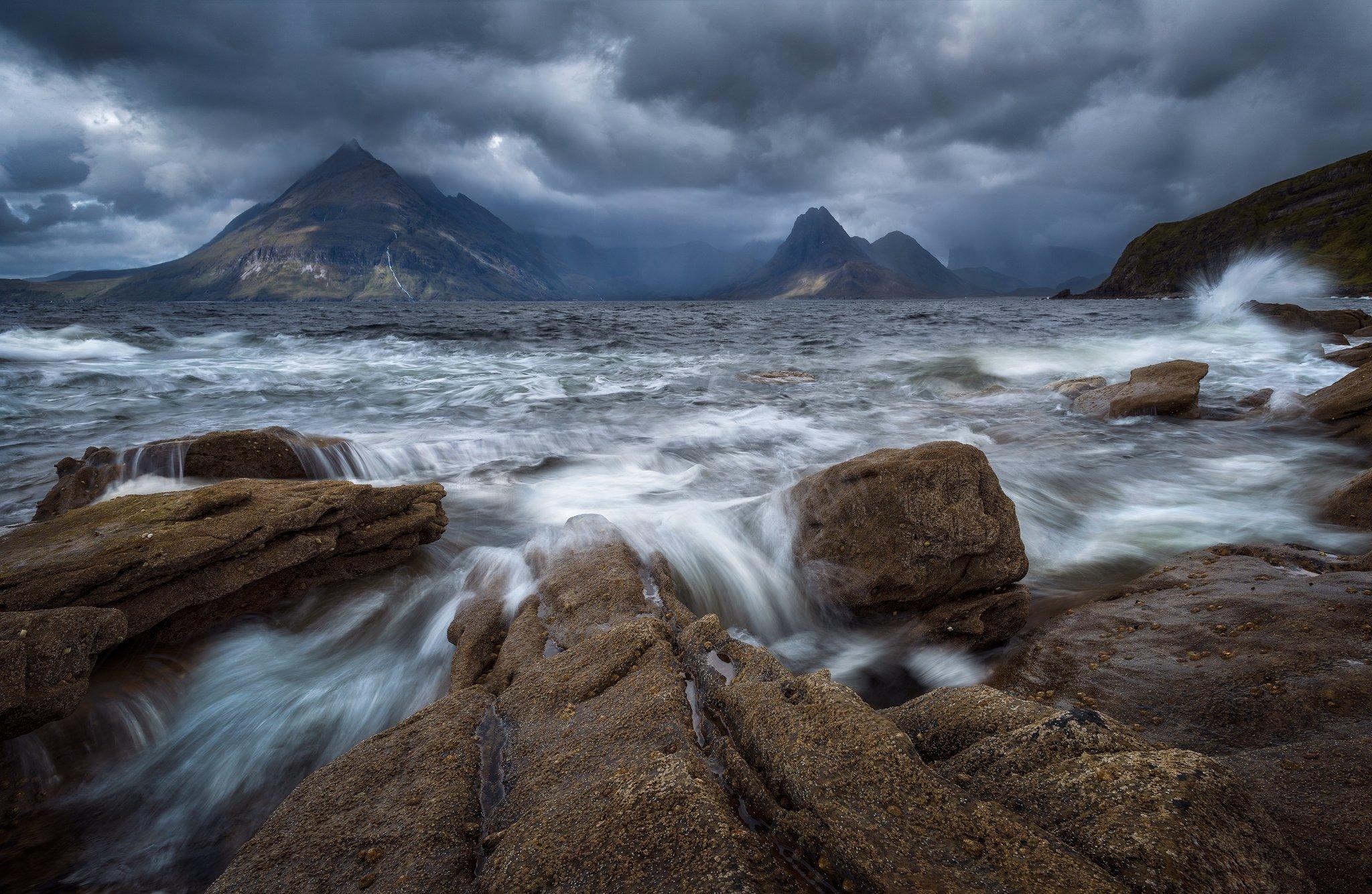 elgol scotland isle of skye mountains sky clouds seascape, Maciej Warchoł