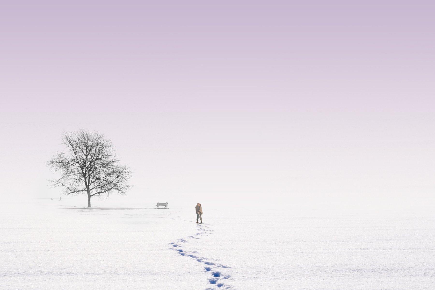 бескрайняя любовь молодожены свадьба свадебное прогулка зима снег дерево природа пейзаж холод любовь помолейко pomoleyko wedding lovely, Павел Помолейко