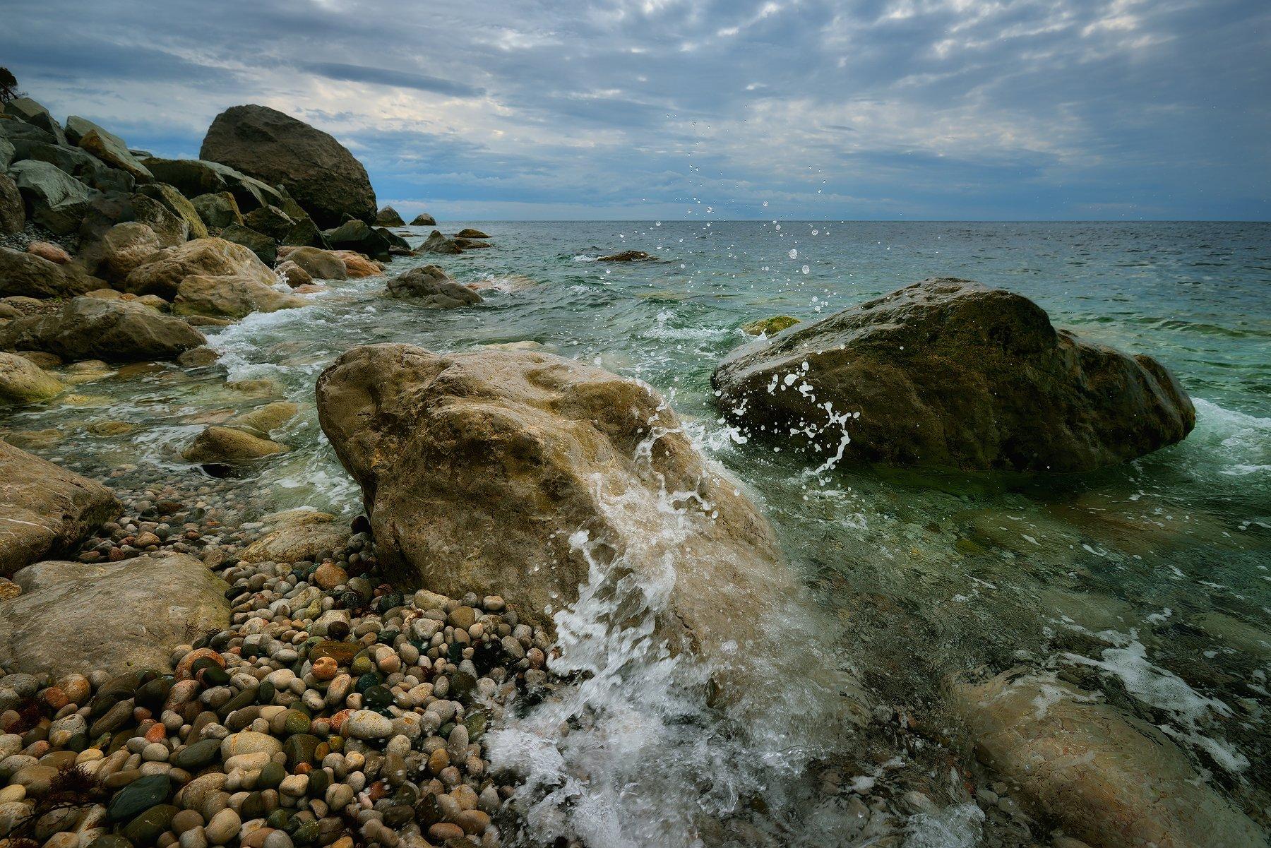 море, крым, волны, камни, берег, Алексей