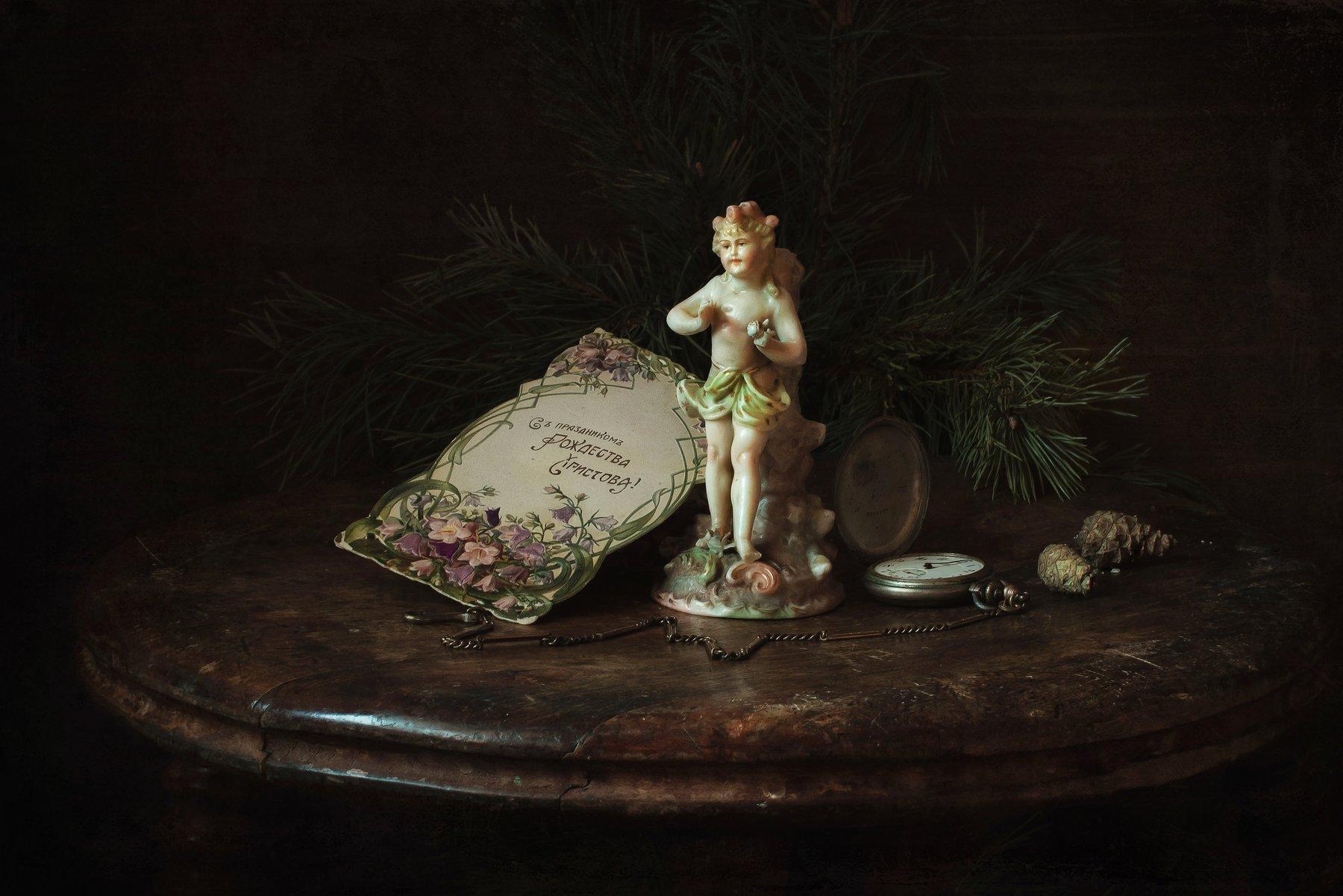 натюрморт, рождество, ёлка, фарфор, статуэтка, открытка, часы, Анна Петина