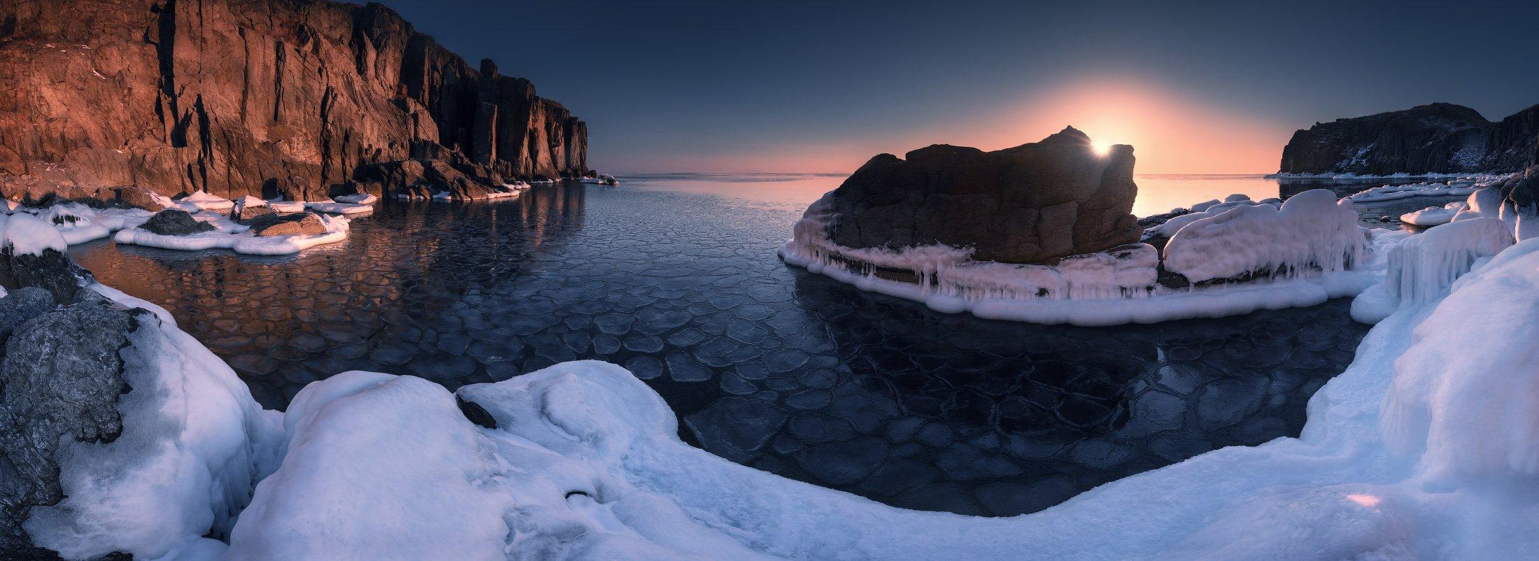 панорама, утро, море, скалы, зима, Андрей Кровлин