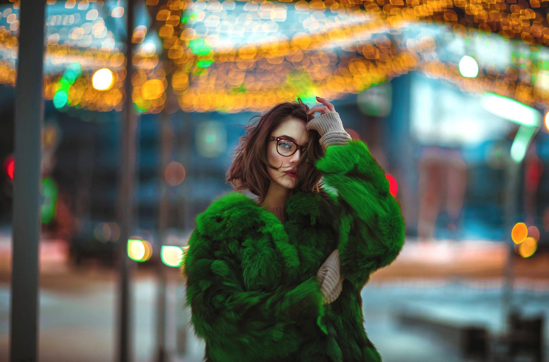 lights neon portrait  night, Салават Халиков
