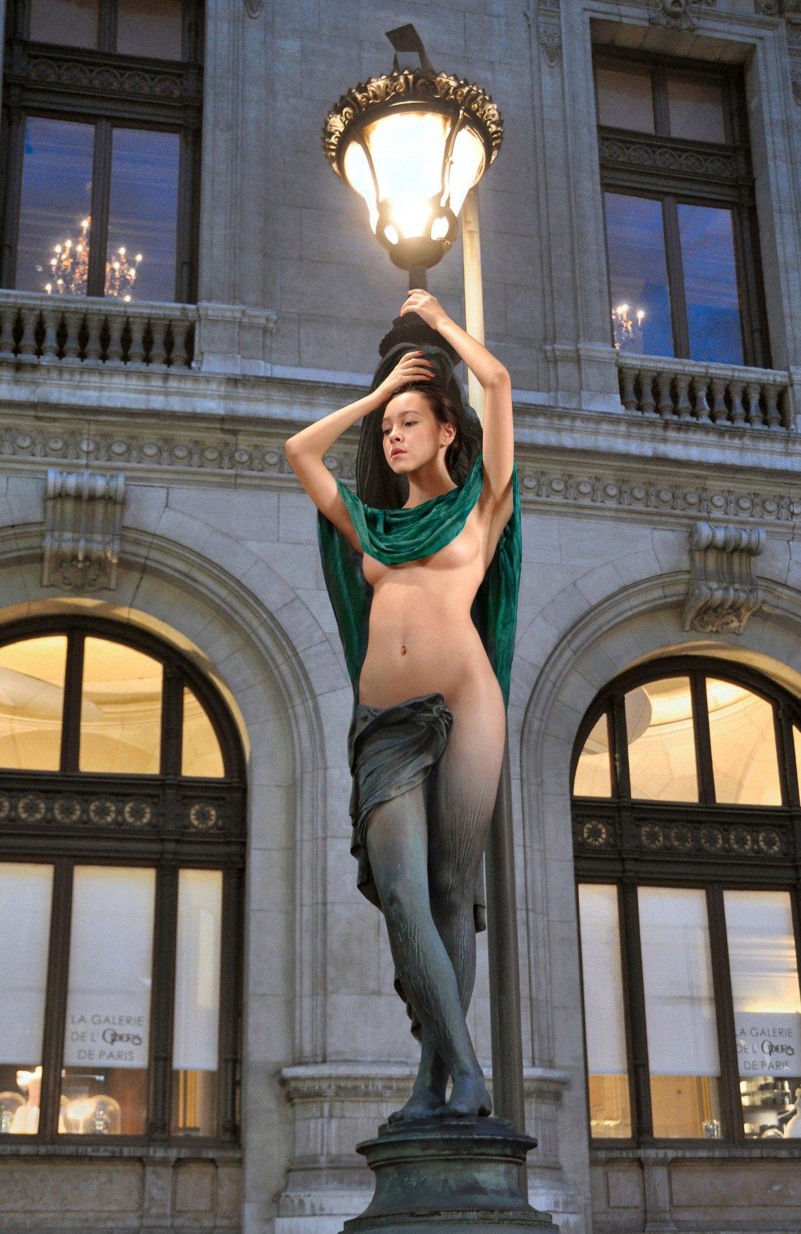 sculpture, art, bronse, statue, lamp, evening, girl, nude, model, posing, paris, opera, collage, Endegor