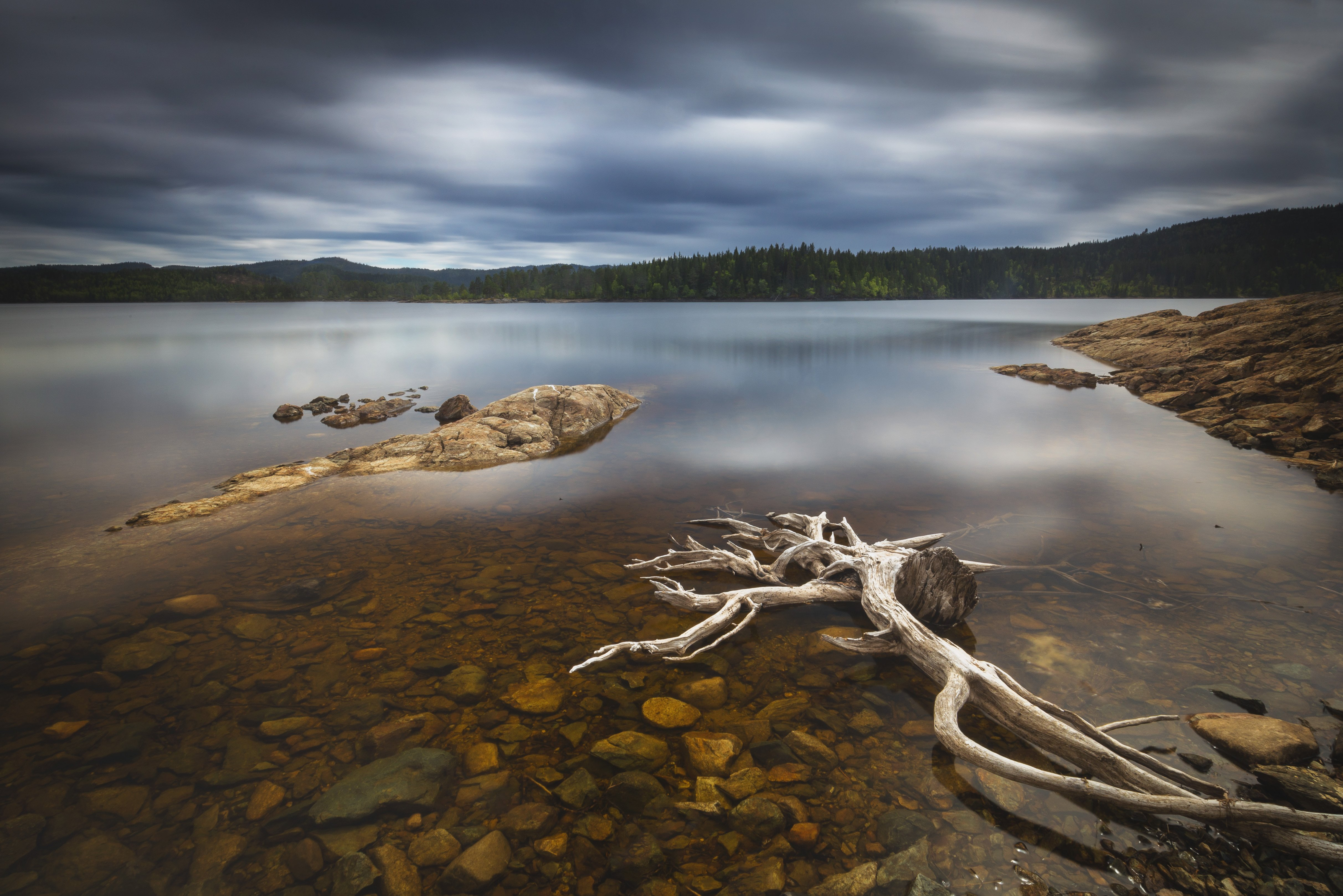 lake, landscape, lakeside, long exposure, norway, norwegian, drift wood, shore, water, reflections, light, nature, outdoor,, Adrian Szatewicz