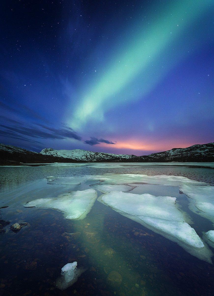 aurora, borealis, north lights, night, lake, winter, night photo, norway, norwegian, outdoor, nature, natural, landscape, astronomy, Adrian Szatewicz