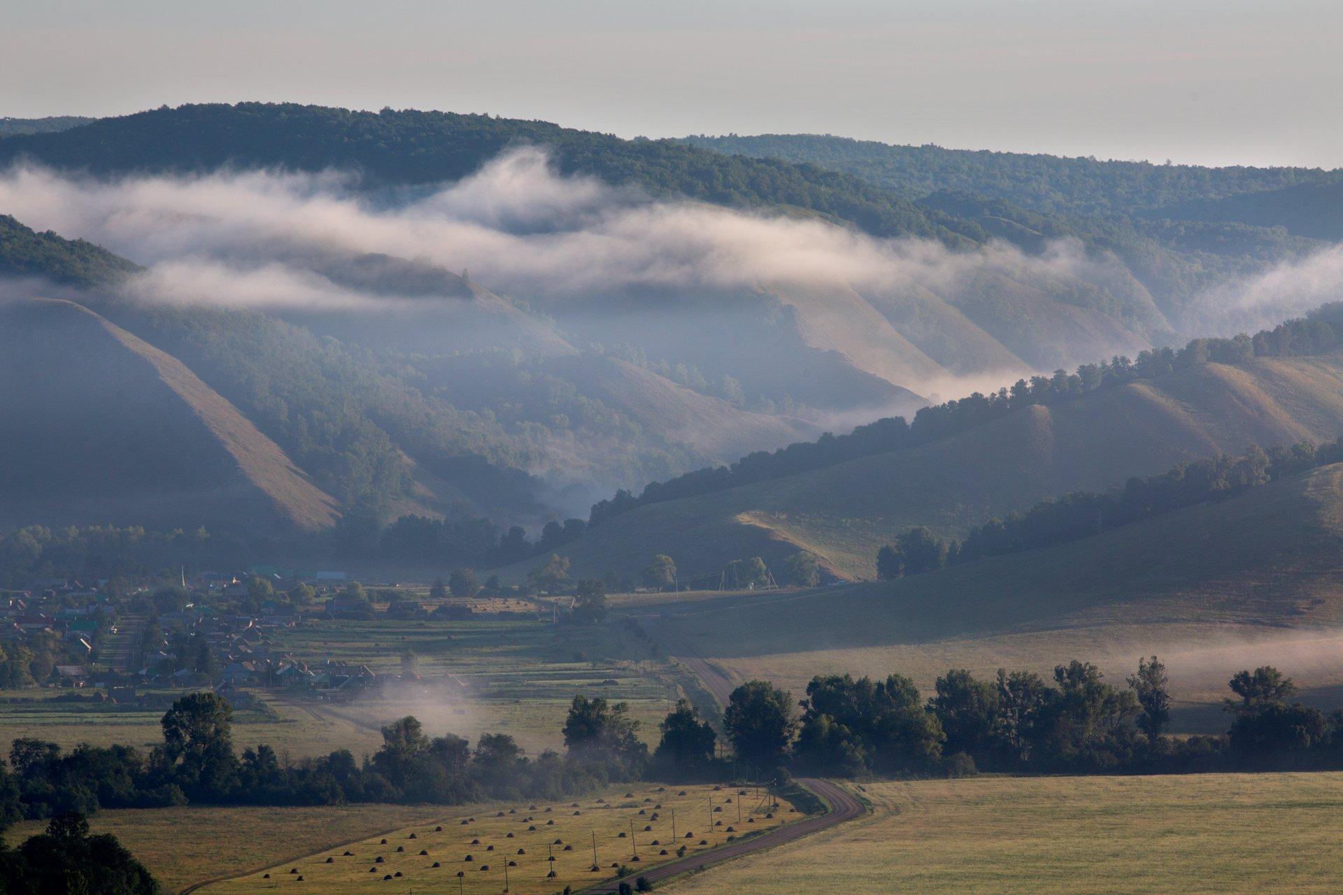 пейзаж, горы,  туман, утро, урал, южныйурал, природа, олег_грачёв,, Грачёв Олег