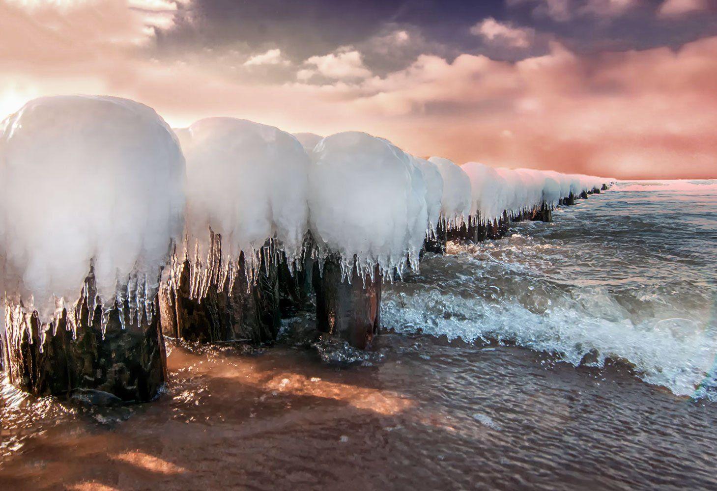 sunset, seascape,sky,clouds,ice, Daiva Cirtautė