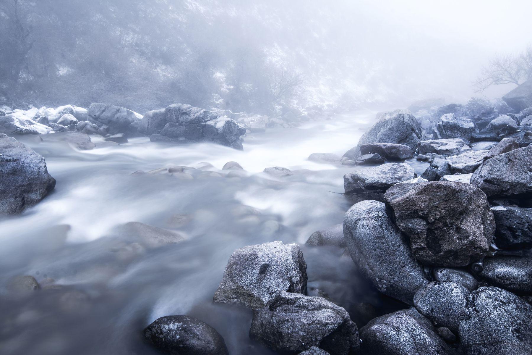 река, горы, туман, камни, скалы, природа, пейзаж, зима, Василий