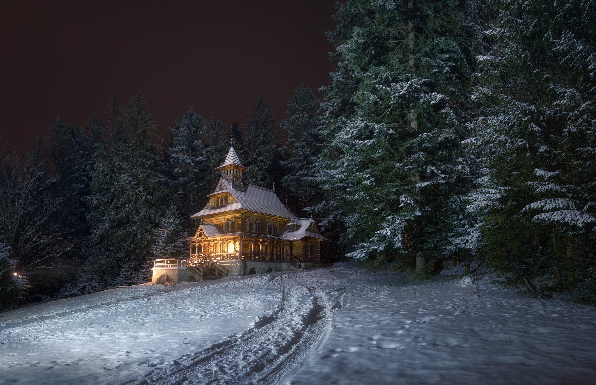 church poland zakopane jaszczurówka winter eve snow light woods forest trees, Maciej Warchoł