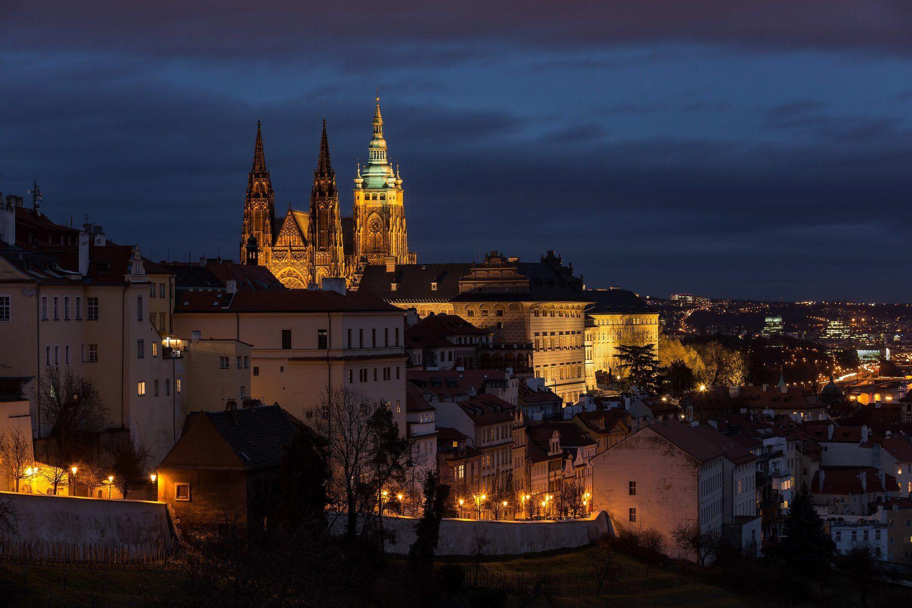 czech republic, prague, castle, night, Jarda Kudlak