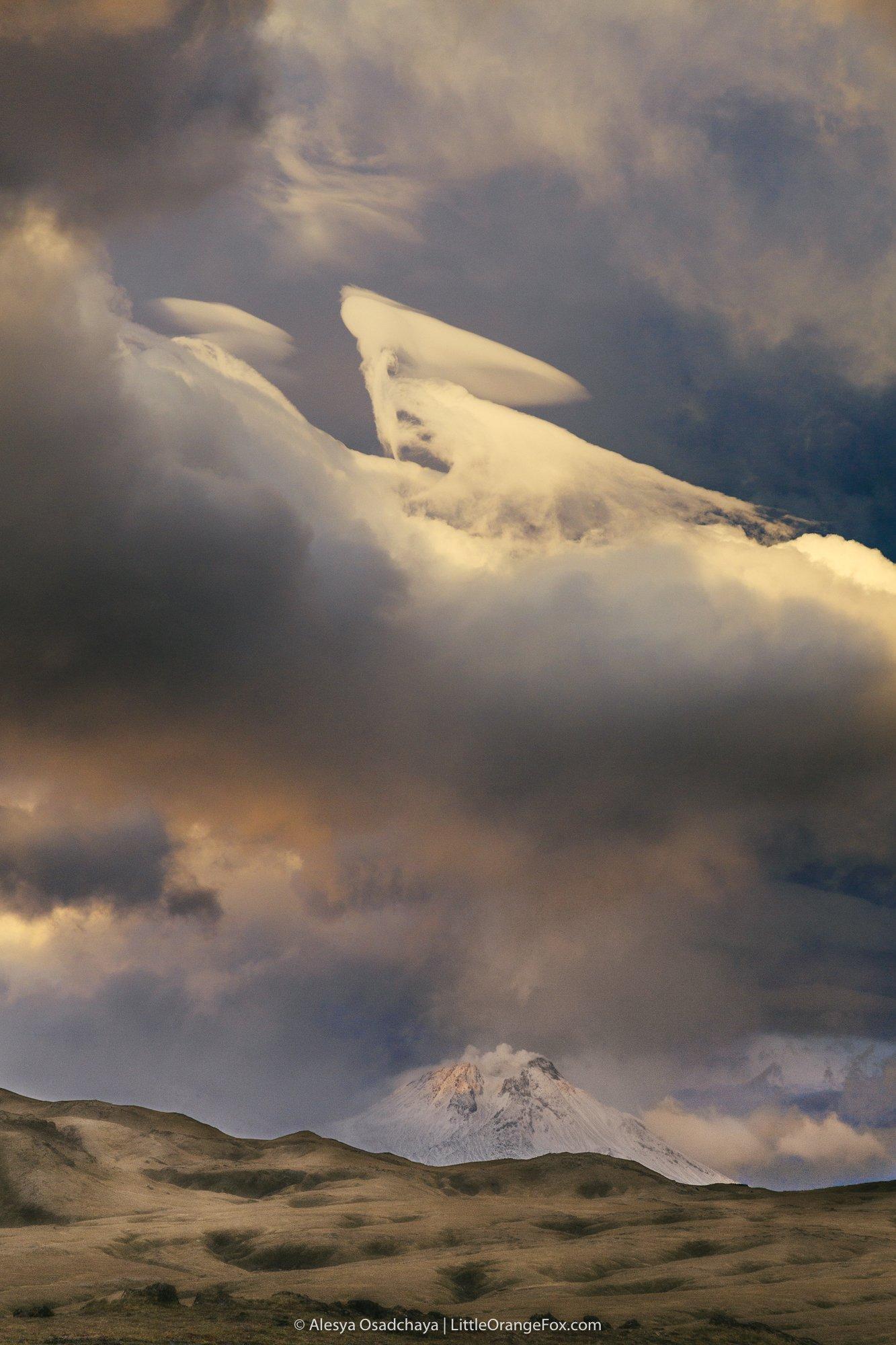 камчатка, облако, закат, вулканы, Осадчая Алеся