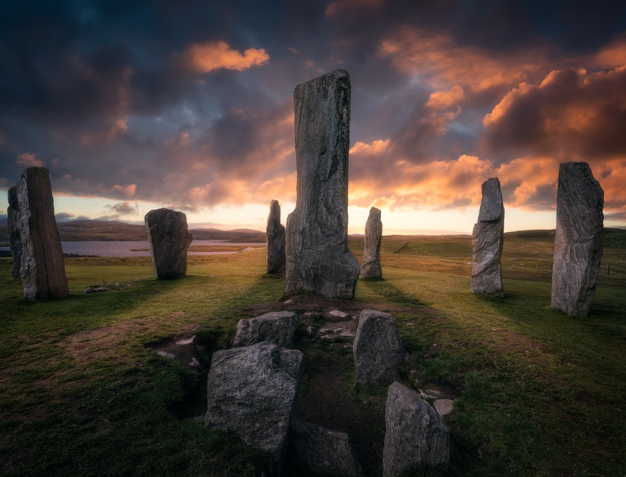 outer hebrides callanish stones scotland suset sky light clouds colors temple neolithic, Maciej Warchoł