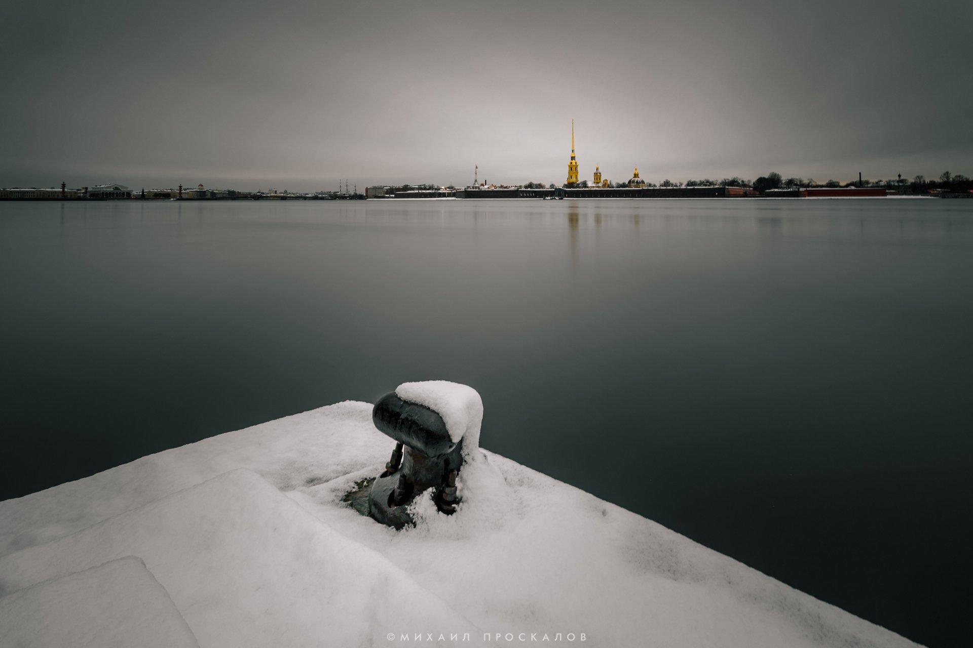 Длинная выдержка, снег, город, вода, Михаил