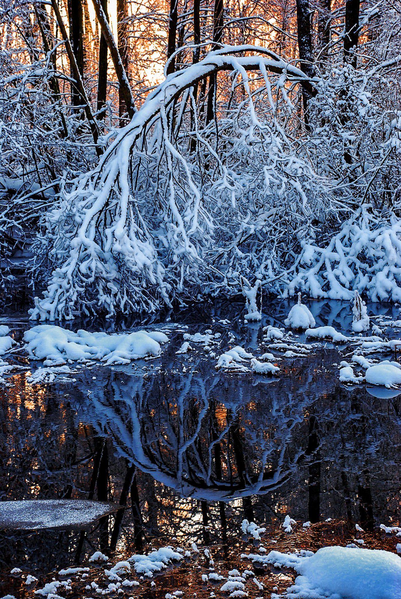 вечер, морозец, речка, снег, Владимир Штыриков
