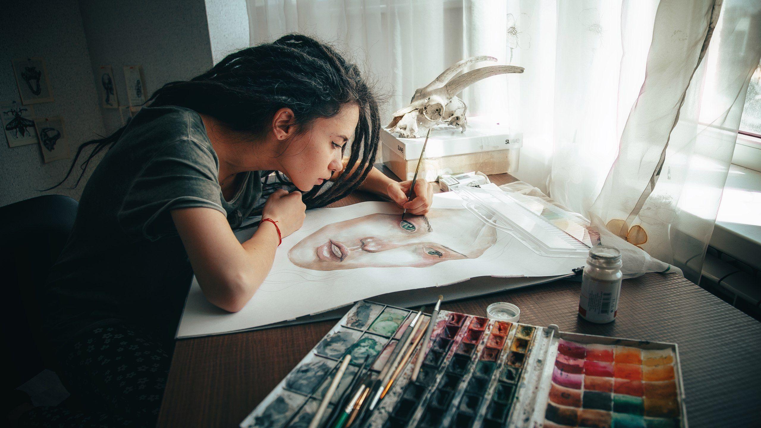 портрет, девушка, художник, краски, рисунок, арт, Васильев Андрей