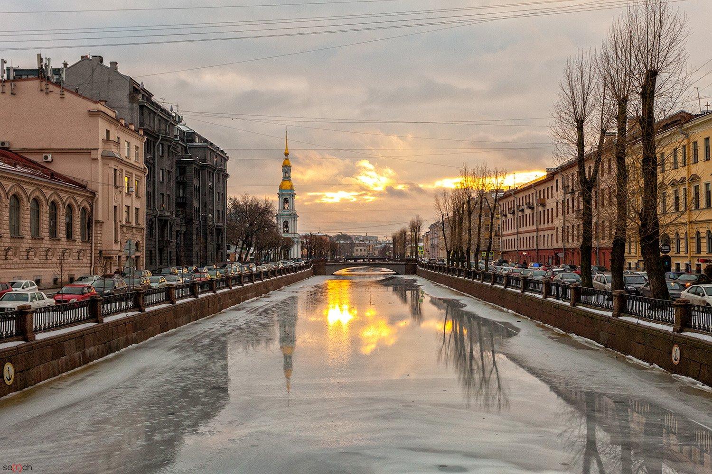 санк-петербург, питер, зима, канал, лед, петербург, утро, восход, небо, Сергей