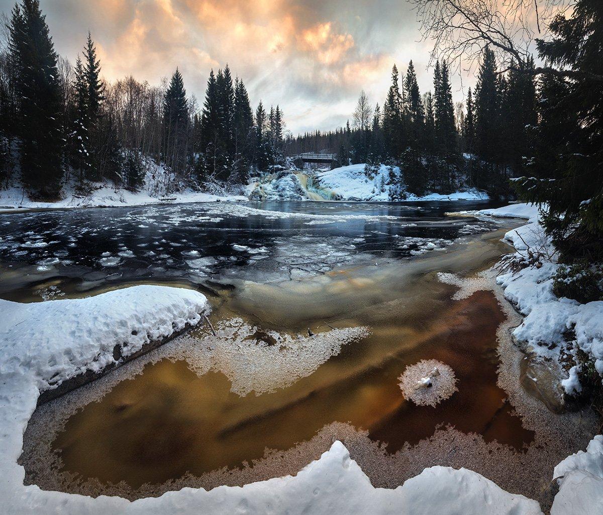 winter,forest,river,norway,norwegian,homla,frost,freezing,frozen,ice,snow,water,nature,natural,landscape,scandinavia, Adrian Szatewicz