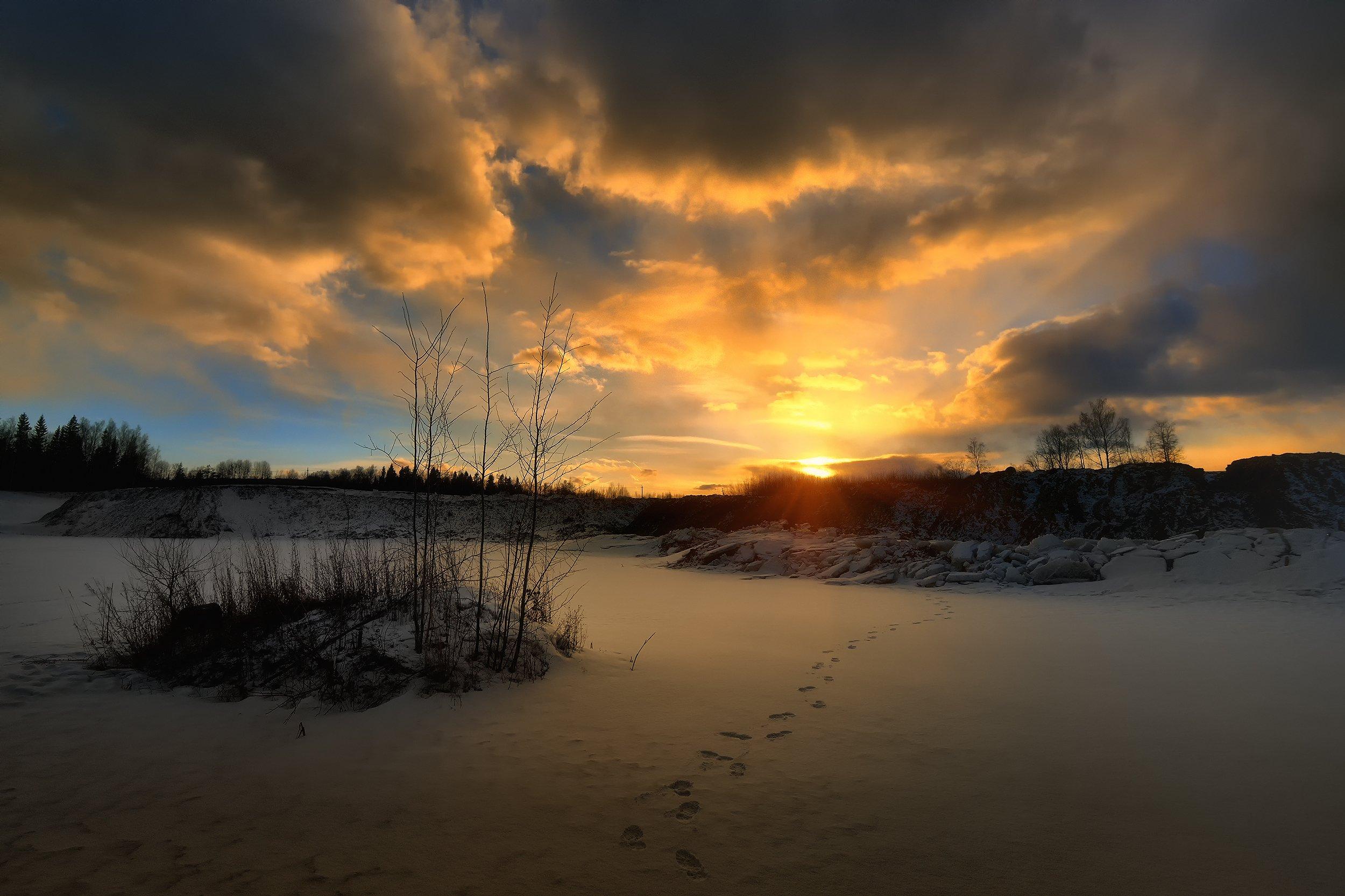 зима, winter, закат, вечер, снег, sunset, evening, snow, Алексей