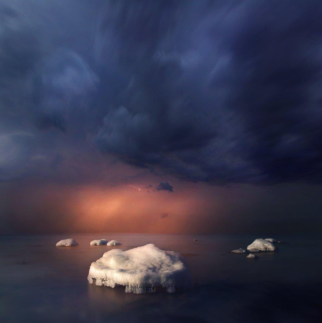 Lithuania, clouds, storm,ice,rock, sea, Mindaugas Žarys