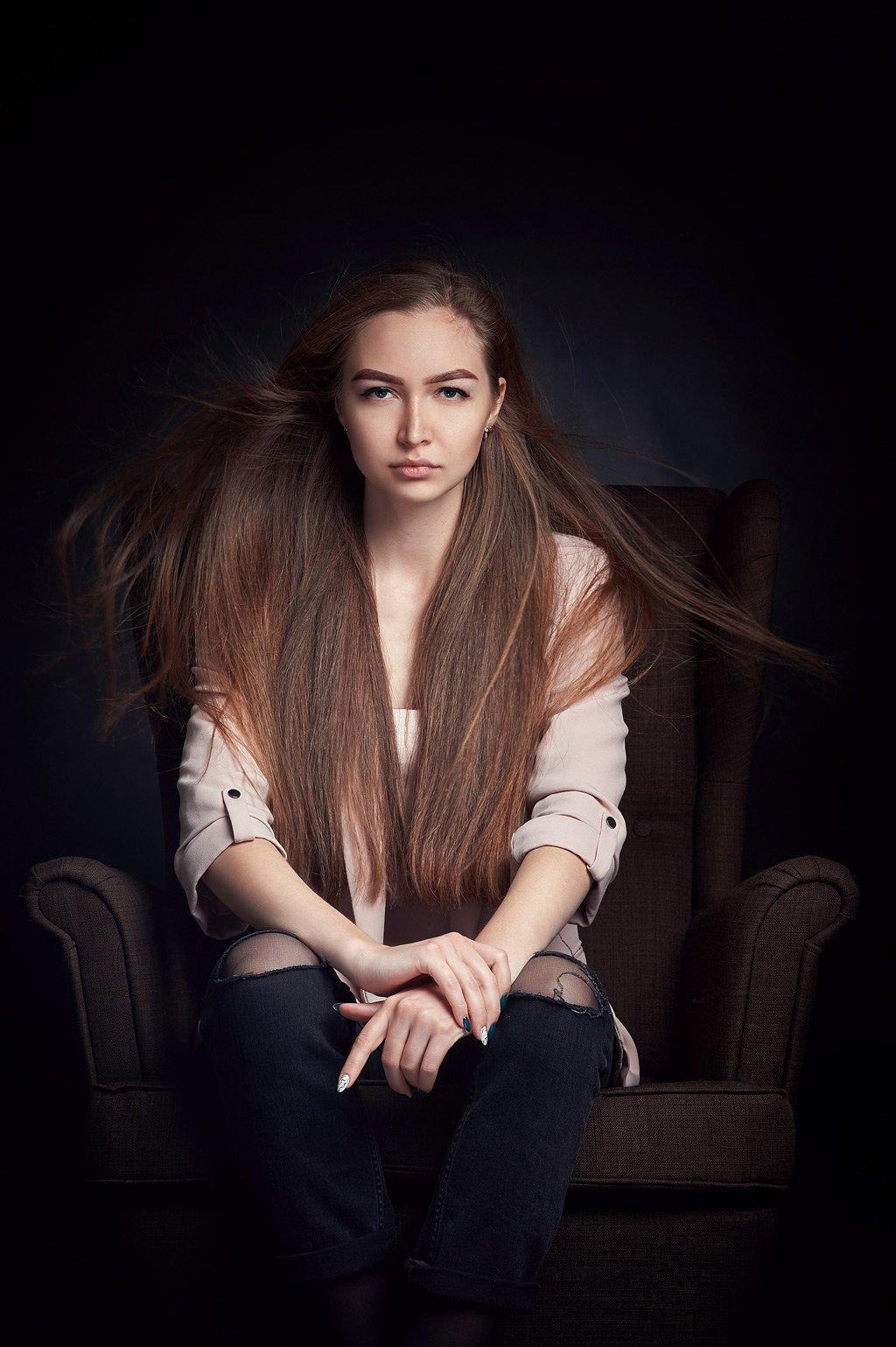 портрет, девушка, динамика, ветер , Рахимов Рустам