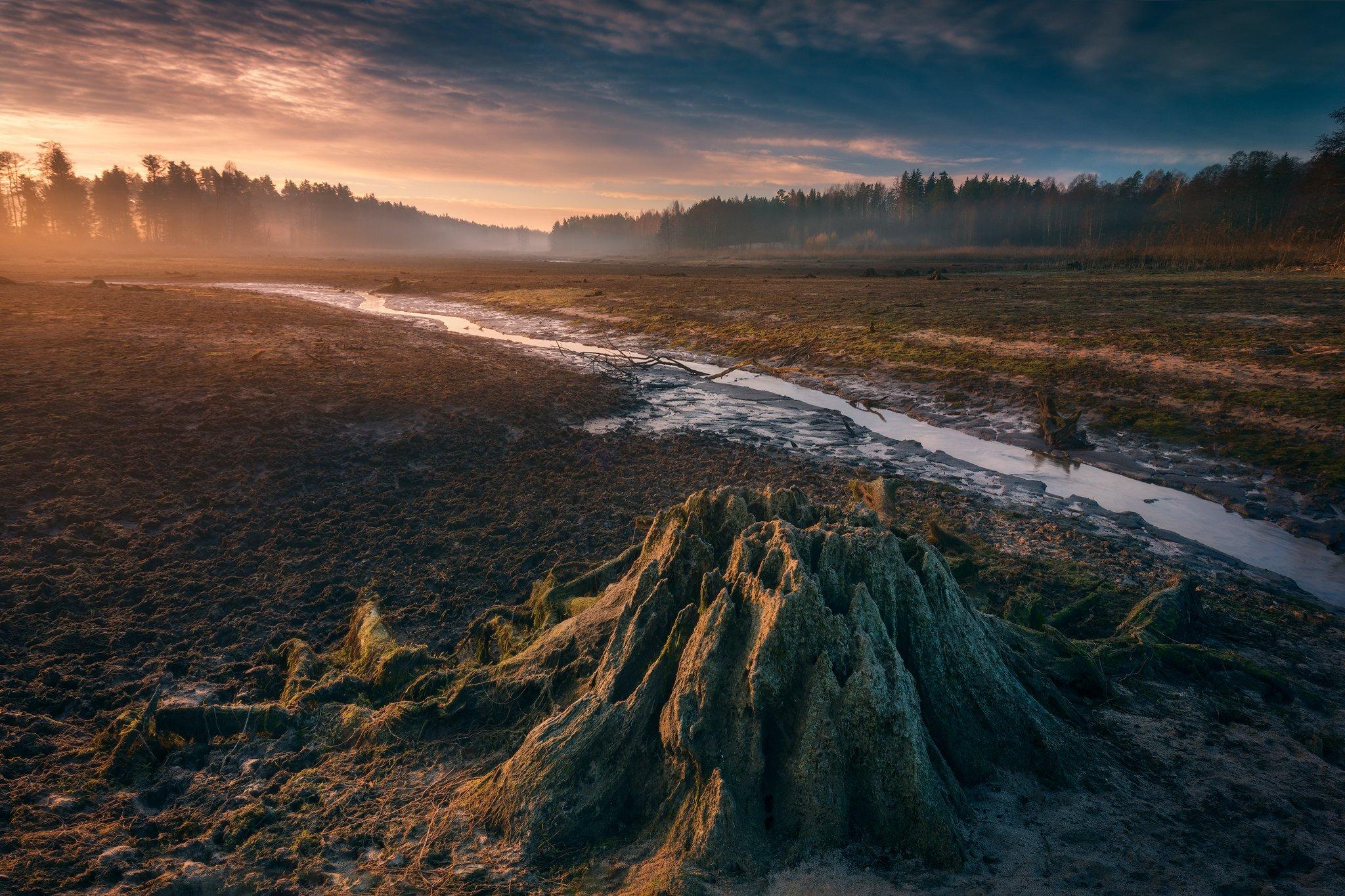 lake poland podlasie dawn sunrise sky clouds water colors mood komosa trunk, Maciej Warchoł