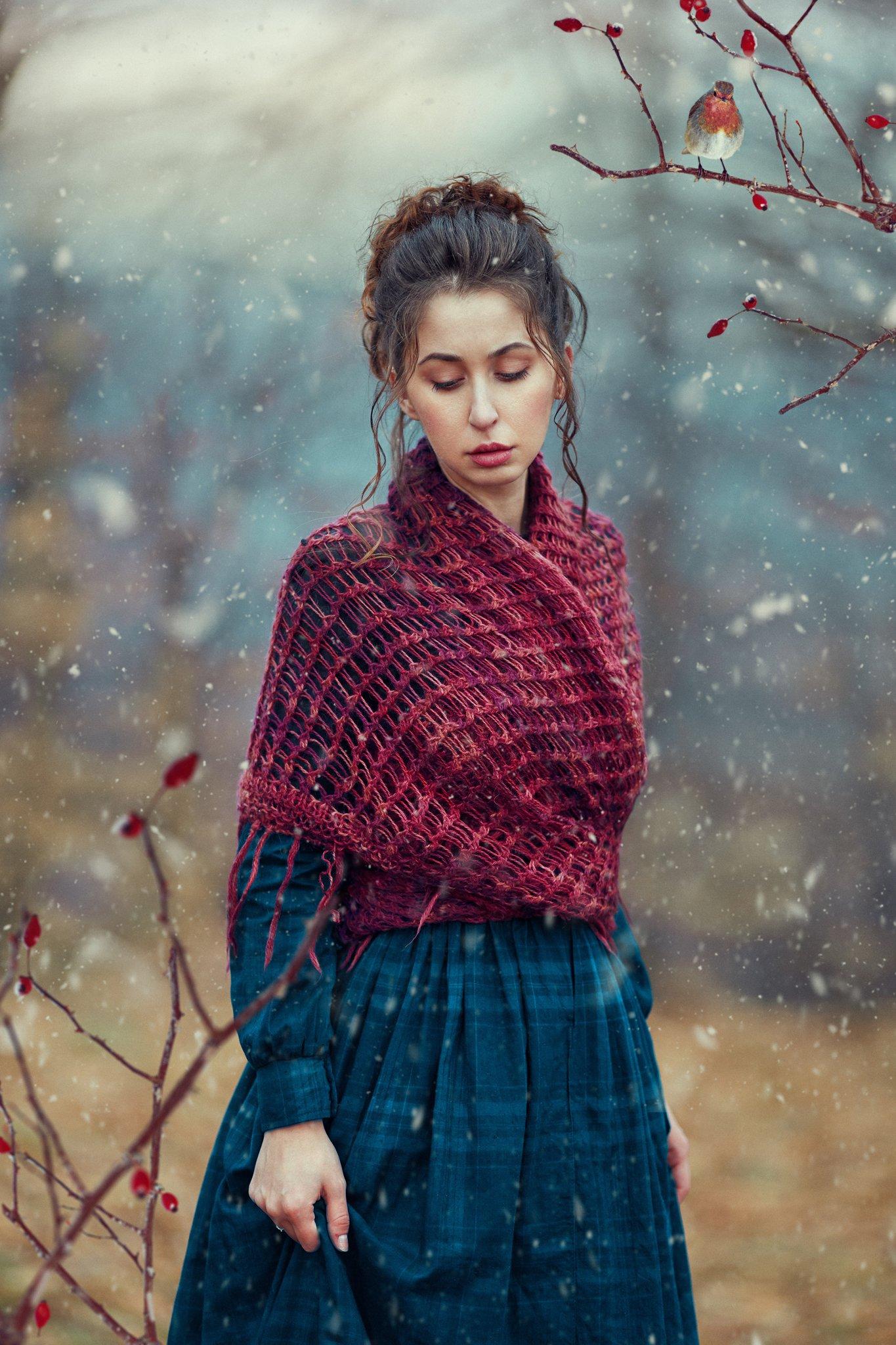 woman, winter, bird, snow, Monica Lazar