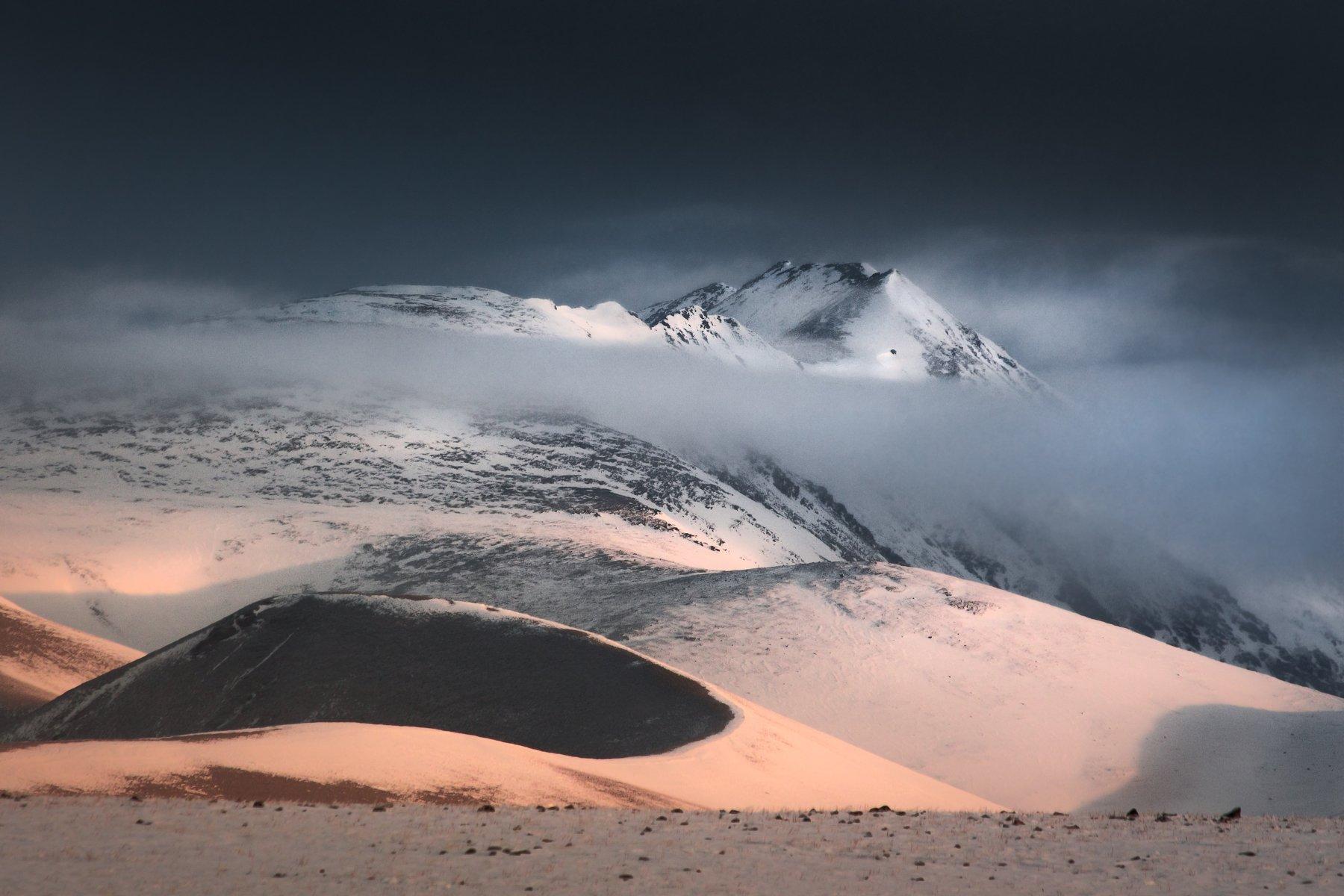 алтай, горы, курай, природа, пейзаж, осень, снег, утро, восход, туман, свет, Денис Соломахин
