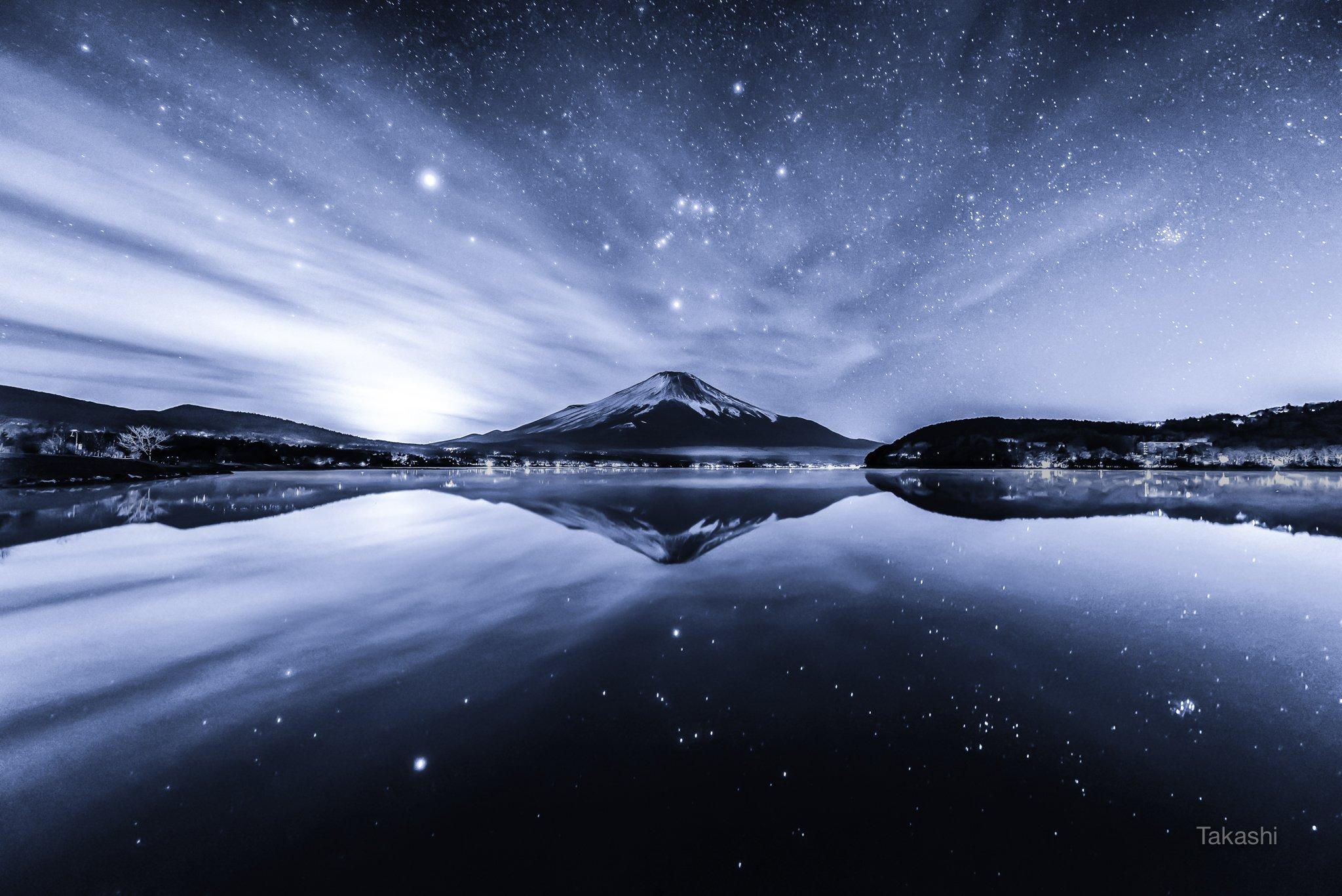 Fuji,mountain,Japan,cloud,lake,water,reflection,star,orion,beautiful,fantastic,amazing,bye,sky, Takashi