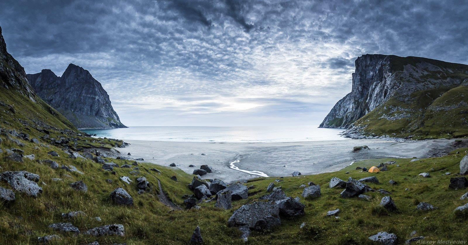 Квалвик, Лофотены, Норвегия, пляж, море, серер, острова, скалы, панорама, Алексей Медведев