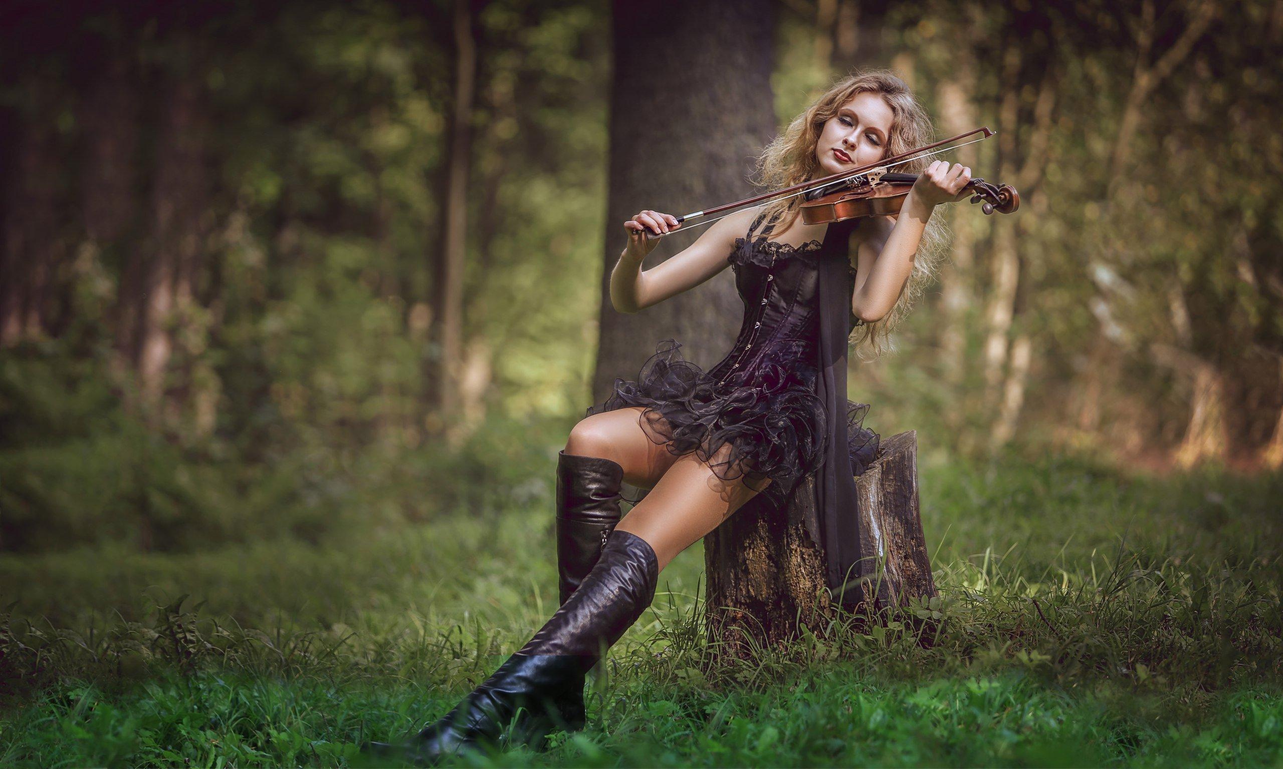 скрипка, скрипачка, девушка, лес, парк, музыка, rekhov, sergejrekhov, Сергей Рехов