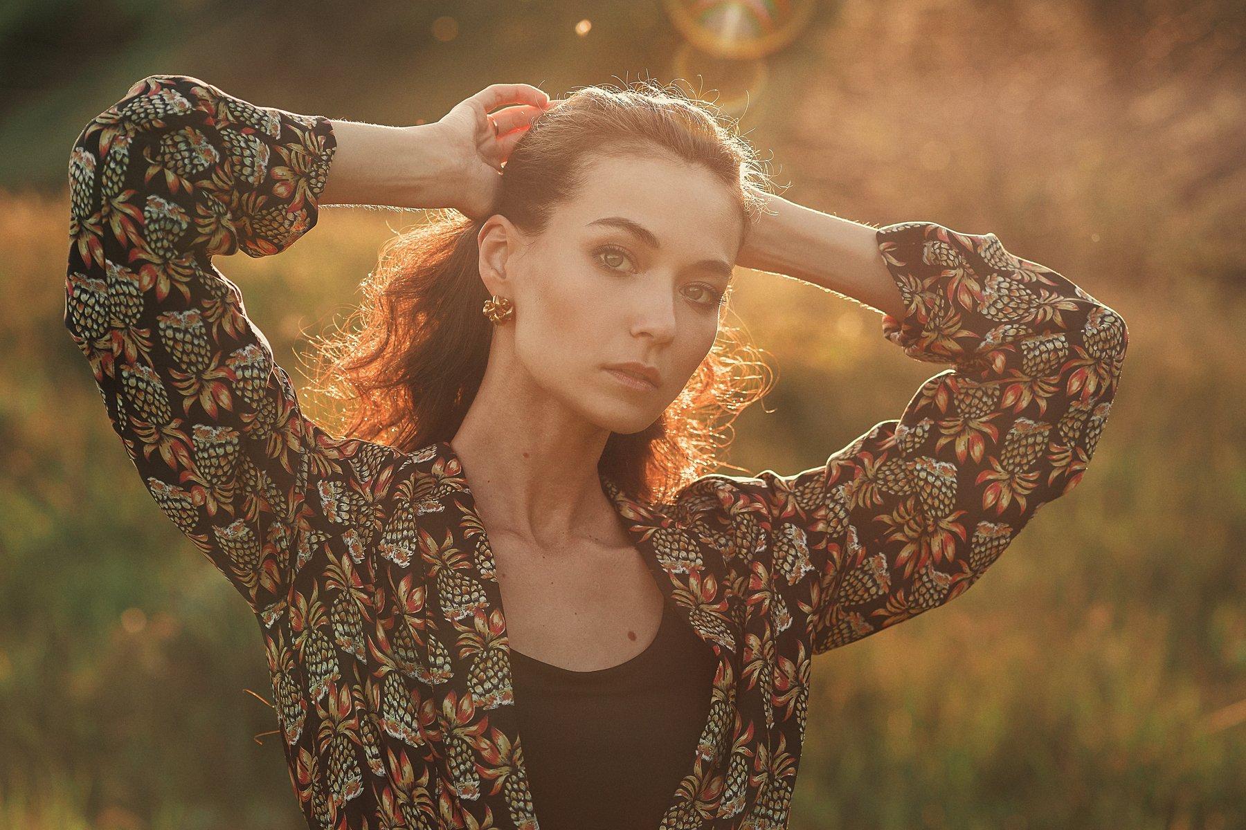 portrait, colour, eyes, nature, green, beautiful, girl, Павел Соколов