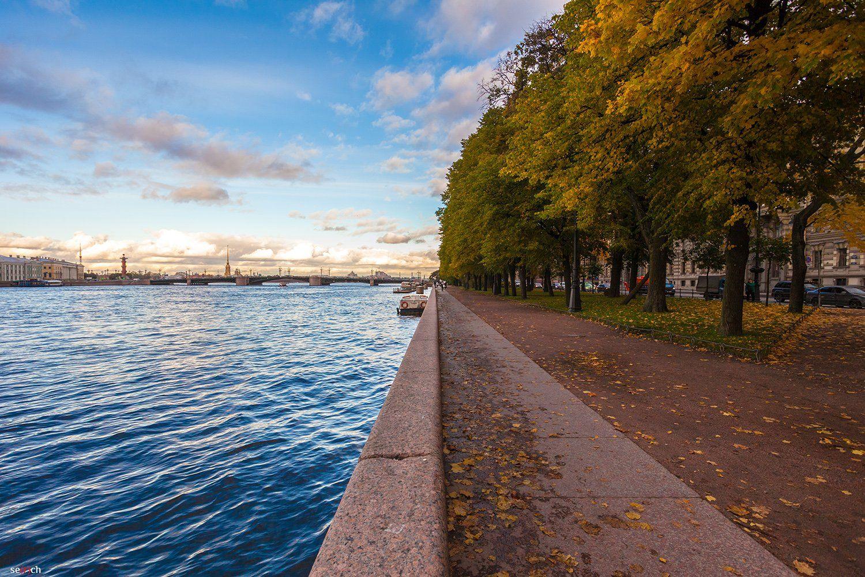 санкт-петербург, река, нева, осень, мост, небо, вода, деревья, листва, синее, желтое, Сергей
