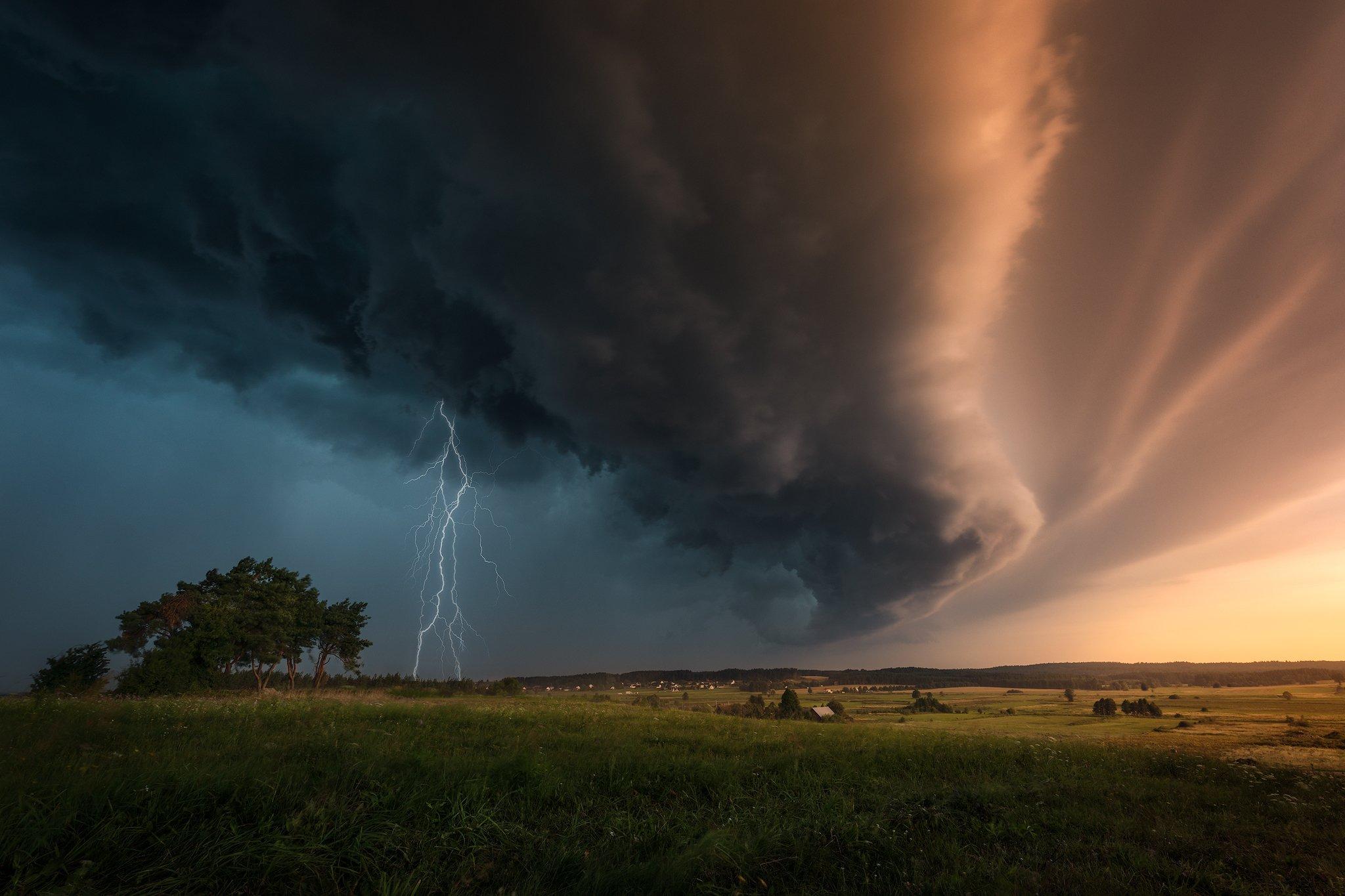 storm shelf cloud thunder lightning poland podlasie dramatic sky, Maciej Warchoł