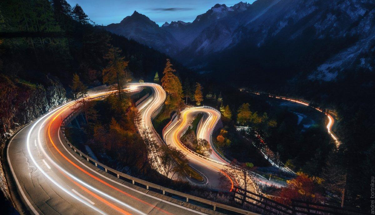 ночной пейзаж, швейцария, горы, пейзаж, Андрей Бортников
