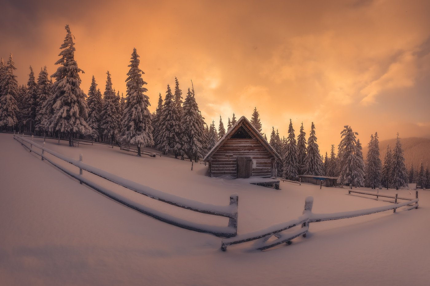 Карпаты, пейзаж, зима, Хомяк, домик, Иван Кмить