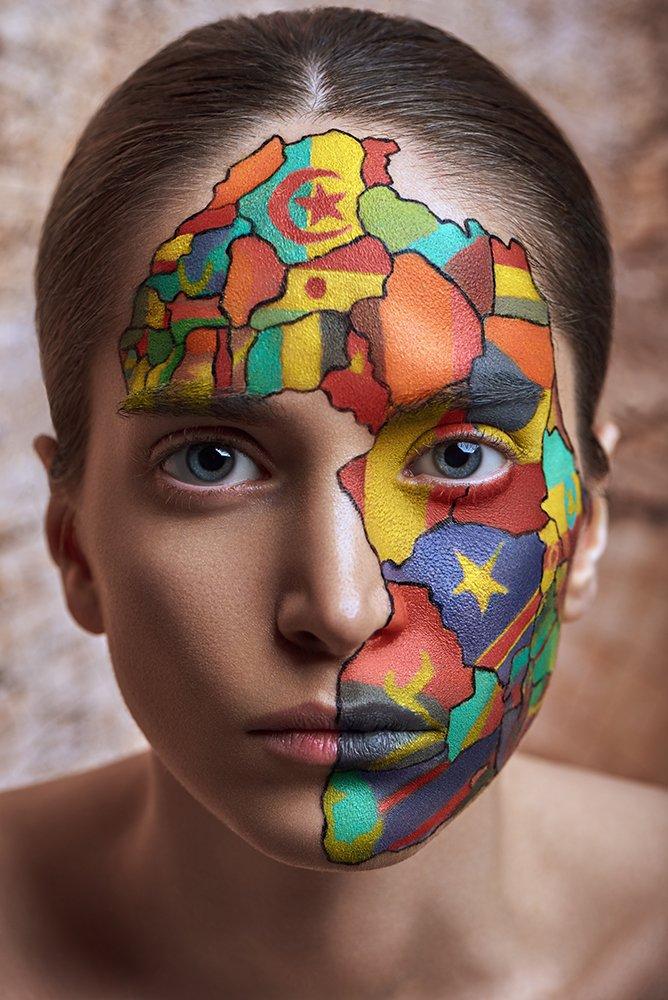 beauty, concept, fine art, red, cross, dark portrait, portrait, make up, africa, Peyman Naderi