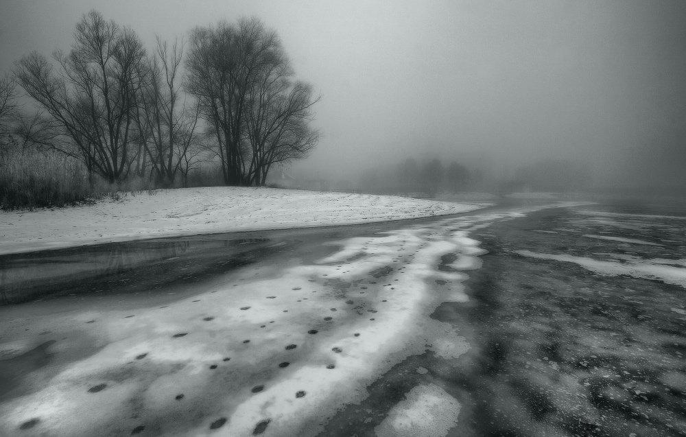 зима, туман, утро, оттепель, снег, лёд, Петриченко Валерий